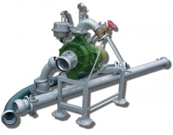 Pompownia T2K65/2 służy do pompowania wody z ujęć powierzchniowych takich jak stawy, jeziora, rzeki, zbiorniki retencyjne a nawet studnie w których lustro wody podczas pompowania nie opadnie poniżej 5 m od wlotu pompy.