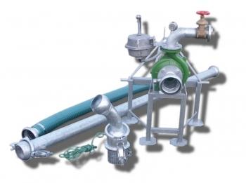 Pompownia T1-50 służy do pompowania wody z ujęć powierzchniowych takich jak stawy, jeziora, rzeki, zbiorniki retencyjne a nawet studnie w których lustro wody podczas pompowania nie opadnie poniżej 6 m od wlotu pompy.